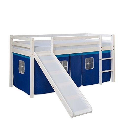 Homestyle4u 1544, Kinder Hochbett Mit Rutsche, Leiter, Vorhang Blau, Massivholz Kiefer Weiß, 90x200 cm