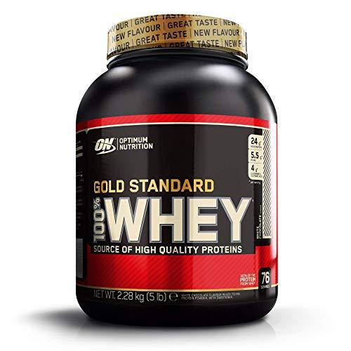 Optimum Nutrition ON Gold Standard Whey Protein Pulver, Eiweißpulver zum Muskelaufbau, natürlich enthaltene BCAA und Glutamin, White Chocolate, 76 Portionen, 2,28kg, Verpackung kann Variieren