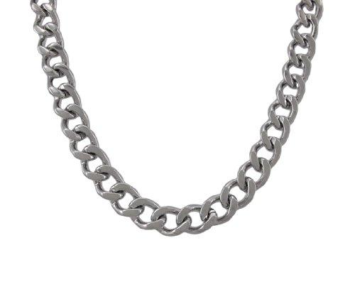 Things2Die4Metal Cadena Collares 24Inch Curb Enlace Collar de Acero Inoxidable 3/8Pulgadas de Ancho Plata Modelo # zl050–24