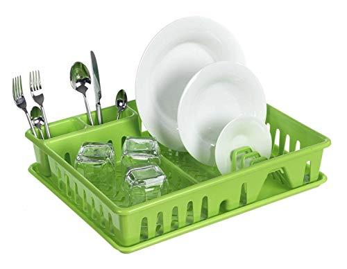 Escurreplatos con bandeja rectangular verde