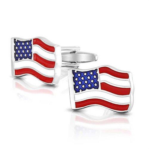 Bling Jewelry Rot Weiß Blau Stern Stripes N Amerikanischen Usa-Flagge Manschettenknöpfe Für Herren Scharnier Aus Rostfreiem