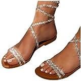 Womens Sandals Wedge Comfort Sandals for Women Dressy Bohemian Pearl Flat Flip Flop Sandals Open Toe Roman Shoes Casual