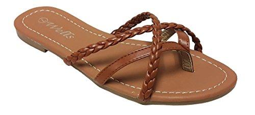 Elegant Womens Fashion Braided Criss Cross Strappy Tan Flip Flop Flat Sandals Tan 6, M US
