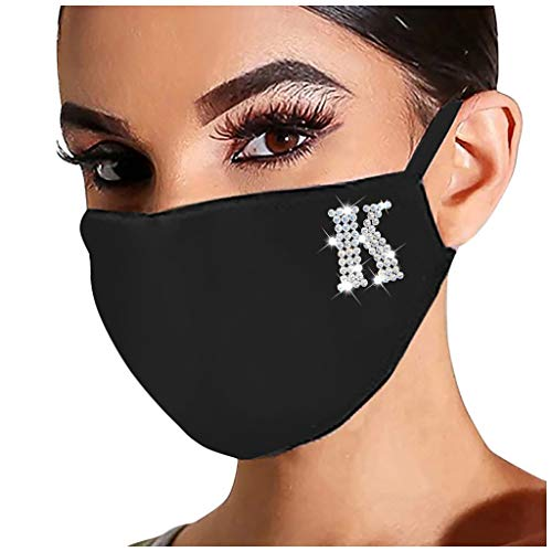 Stekima 1Pc Fashion Face_Mask Washable Breathable Sparkly Bright Rhinestone Drill Pattern Print Reusable Face Cover Cotton Dustproof Protection for Men Women