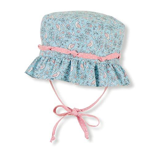 """Sterntaler - Mädchen Baby Kinder Sonnenhut Fischerhut zum Binden mit Ohrenklappen """"Blumen/Vögel"""", blau – 1402013, Größe 43"""