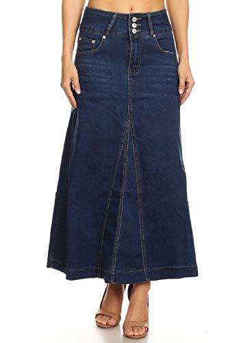 Women's Juniors High Rise A-Line Long Jeans Maxi Flared Denim Skirt in Blue Size L