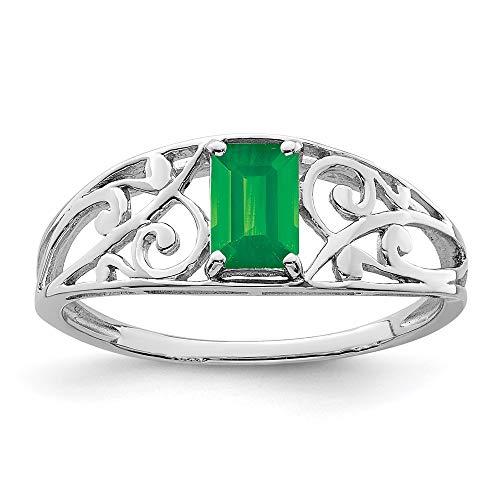 Ryan Jonathan Fine Jewelry Anillo de plata de ley con esmeralda, talla M