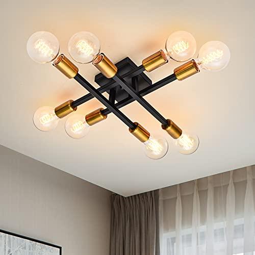 ZICBOL Retro Sputnik Kronleuchter Schwarz/Golden Vintage Deckenlampe E27 Rustikal Kronleuchter Deckenleuchte für Esszimmer, Wohnzimmer, Küche, Restaurant