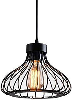 Lampe Suspension Industrielle Métal Retro Suspensions Cage Vintage Plafonnier Luminaire Antique Pendante, Lustre Vintage A...