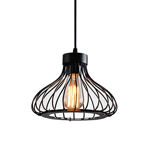 Lámpara de Techo Vintage Lámpara Colgante Techo Retro, E27 Base de la Bombilla, Colgante de luz techo de jaula de metal Industrial Lámpara Colgante para Cocina Restaurante Salón