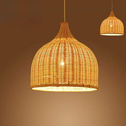 Luces colgantes de jardín vintage Lámpara colgante tejida a mano de bambú y ratán natural Diseño creativo Altura ajustable Lámpara de araña E27 Restaurante Salón de té Dormitorio Salón Luces colgantes