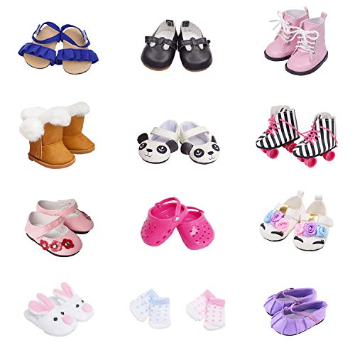 Etistta 6 Pairs of Shoes + 2 Pairs of Socks Fits for 18 inch Doll Shoes American Dolls Accessories Get Panda or Unicorn Shoes and Boots or Skates
