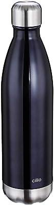 Cilio 543469 Elegante Insulated Drinking Bottle, 18/10 Steel, Grey