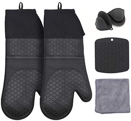 TuBellus Silicone Heat Resistant Oven Mitts and Pot Holders Sets for Kitchen Mini Oven Mitt product image