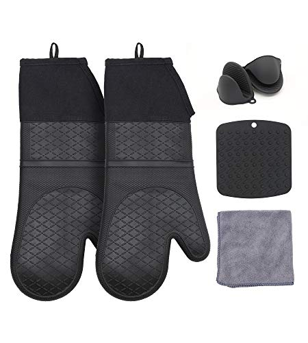 TuBellus Silicone Heat Resistant Oven Mitts and Pot Holders Sets for Kitchen,Mini Oven Mitt Kichen Towel Sets,Extra Long Heavy Duty Oven Mits for Baking Cooking for Men and Women,Black,6 Pcs