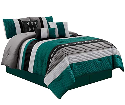 JBFF Oversize Stripe 7 Piece Luxury Micofiber Bed in Bag Microfiber Comforter Set (Cal King, Teal)