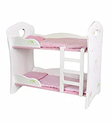 "Our dolls bunk beds in the Heart and Petals design is a quality wooden product. Get your twin dolls ready for bed in this beautifully finished white wooden bunk bed. This item will fit dolls up to 19"" / 48 cm. The dolls bunk beds measure approx. 49 c..."