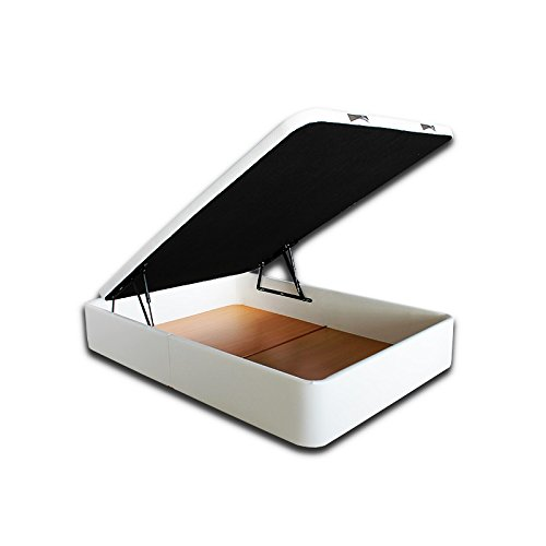 Ventadecolchones - Canapé Abatible Serena Gran Capacidad Tapizado en Polipiel Blanco Roto Medidas 150 x 190 cm en Tejido 3D