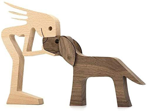 HAVAJ Escultura de madera tallada a mano para perros y amantes de las mascotas, estatua de madera sin pintar sin acabar, para casa, para la familia y para el cachorro