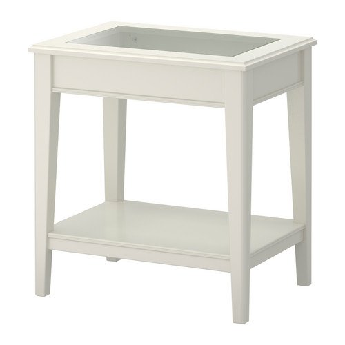 IKEA LIATORP–Beistelltisch, weiß, Glas–57x 40cm