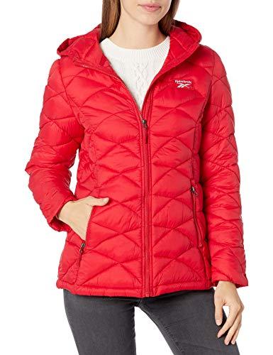 Reebok Ladies 100% Nylon Woven 600MM PU Coated WR Jacket Ropa exterior, rojo, XL para Mujer