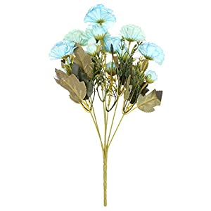 7 Forks Real Touch Handmade Wedding Decoration Blooming Silk Rhododendron Bridal Bouquet Artificial Flowers Fake Rose Peony(Blue)