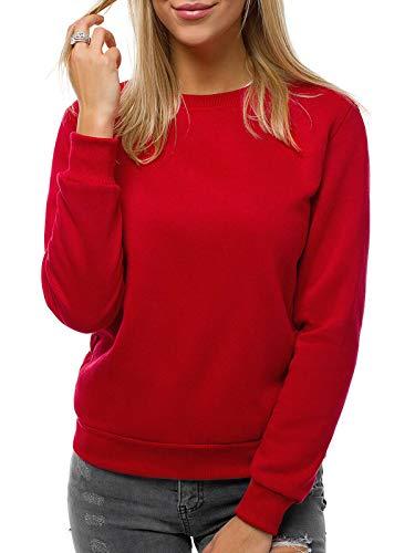 OZONEE Damen Sweatshirt Pullover Langarm Farbvarianten Langarmshirt Pulli ohne Kapuze Baumwolle Baumwollmischung Classic Basic Rundhals-Ausschnitt Sport JS/W01Z DUNKELROT S