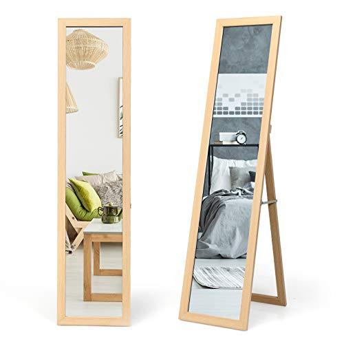 COSTWAY 2 IN 1 Ganzkörperspiegel, Standspiegel und Wandspiegel mit Holzrahmen, Ankleidespiegel 37 x 155cm, Garderobenspiegel für Schlafzimmer, Wohnzimmer und Eingangsbereich (Natur)