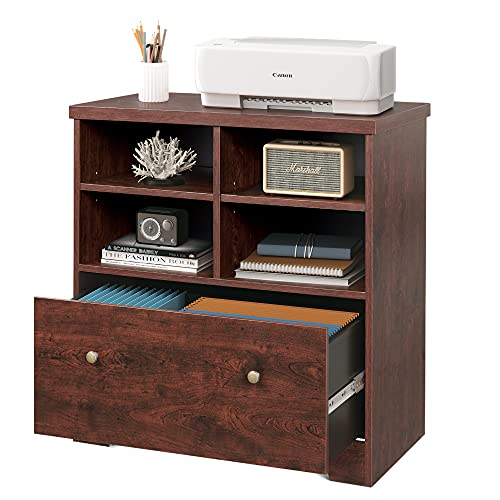 DEVAISE Lateral File Cabinet, 1 Large Drawer Wood Filing Cabinet with 2 Open Adjustable Storage Shelves for Office Home, Cherry