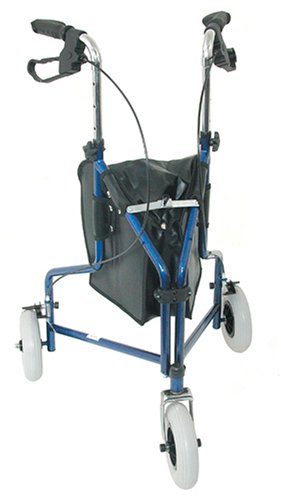 """Duro-Med Steel 3-Wheel Rollator, 8"""" Swivel Wheels, Storage Pouch, 32 to 38 Inches, Royal Blue"""