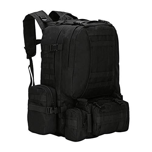 Mochila táctica militar de 55 litros, mochila de senderismo, mochila de trekking, mochila de viaje para hombre, gran capacidad, bolsa de montaña para exteriores, Negro , Black