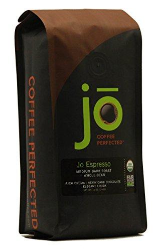 JO ESPRESSO: 12 oz, Medium Dark Roast, Whole Bean Organic Arabica Espresso Coffee, USDA Certified Organic Espresso, NON-GMO, Fair Trade Certified, Gluten Free, Gourmet Espresso Beans by Jo Coffee