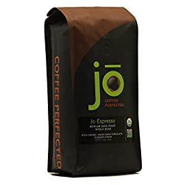 "JO ESPRESSO: 12 oz, Medium Dark Roast, Whole Bean Organic Arabica Espresso Coffee, USDA Certified Organic Espresso, NON-GMO, Fair Trade Certified, Gluten Free, Gourmet Espresso Beans by Jo Coffee 6 <p>PROFESSIONAL CUPPING NOTES: RICH CREMA | HEAVY DARK CHOCOLATE | ELEGANT FINISH | NO FLAVORING ADDED | Descriptive terms are simply subtle undertones in the coffee itself and no flavors are added. We also offer a popular dark roast espresso called Wild Jo in whole bean or auto-drip grind format. Browse the ""Jo Coffee"" link above to see all our 12 oz, money-saving 2 lb and our single serve for Keurig K-Cup brewer offerings. Jo Coffee is proud to offer USDA Certified Organic, Fair Trade Certified and Kosher Certified Coffee. We recognize and give honor to the many small coffee growers around the planet. Coffee makes people happy! With many thousands of satisfied Amazon coffee customers across the USA, you can also read thousands of customer reviews at our website. Send us your coffee review too! Like it? Look to your right and Share! Jo Coffee does not authorize any other sellers of our brand on Amazon. For your protection, select only ""Sold by Jo Coffee"" as the seller. Click the ""Jo Coffee"" links on this page to see other Jo Coffee produced and authorized offerings.</p>"