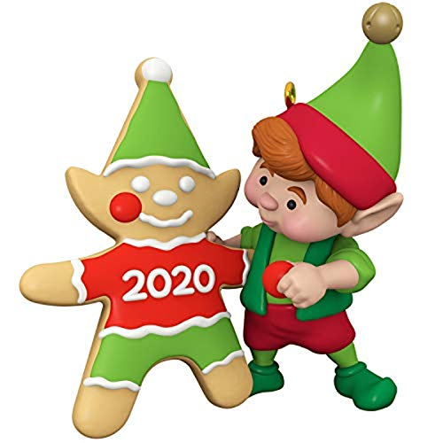Hallmark Keepsake Christmas Ornament 2020 Year-Dated, North Pole Tree Trimmers Elf With Cookie