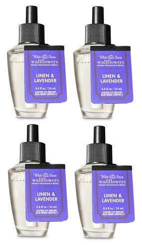 Bath and Body Works 4 Pack Linen and Lavender Wallflowers Fragrance Refill. 0.8 fl oz.