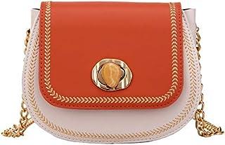 Cross Body Handbags Chain Small Bag Female Saddle Bag Contrast Color Shoulder Slung Female Bag 2019 New Wave Wild Fashion Summer (Color : Orange)