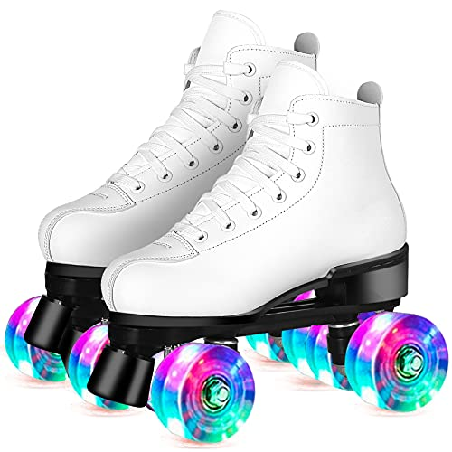 Perzcare Roller Skate Shoes for Women&Men Classic PU Leather High-top Double-Row Roller Skates for Beginner, Professional Indoor Outdoor Four-Wheel Shiny Roller Skates for Girls Unisex