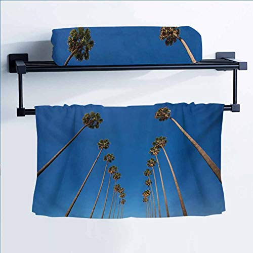 Palm Tree Christmas Kitchen Dishtowel Polyester Cleaning Cloths Palms and Clear Blue Sky Scene Tropical Plant Summer Exotic Nature Illustration Green Blue 27' W x 54' L