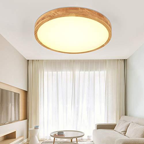 18W LED Deckenleuchte, Nordic Modern Holz Deckenlampe, warmweiß 3000K/Weißes Licht 6000K ,1260lm, Φ30cm Runde Holz Lampe für Wohnzimmer, Schlafzimmer, Esszimmer, Büro, Kinderzimmer Leuchte (warm)