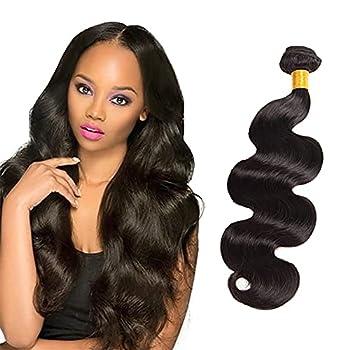 Brazilian Hair Bundles Natural Black Color Water Wavy Hair 16/18/20/22/24 Inch Hair Weave Bundles Human Hair Bundles with Lace Closure 100% Unprocessed Virgin Human Hair Natural Black Color