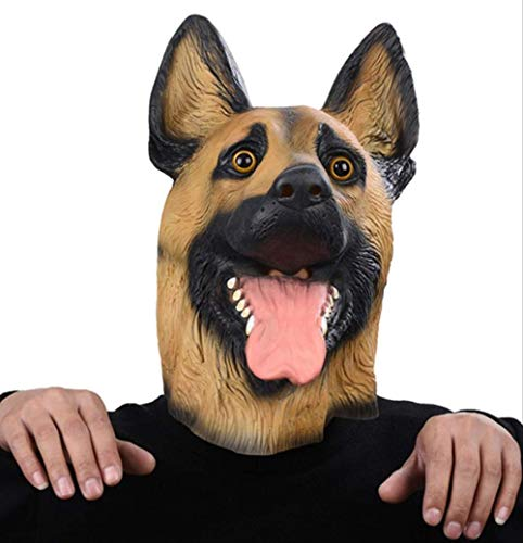 Latex Masker Hond Masker Hoofd Volledig Gezicht Masker Halloween Masquerade Fancy Dress Party Cosplay Kostuum Politie Dier Duitse Herder
