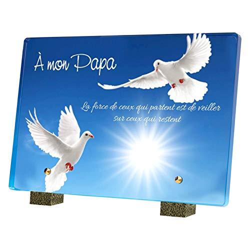 Le Coq Funéraire - Plaque Funéraire en Altuglass - Résistante aux Intempéries, Traitée Anti UV - À Mon Papa - Format Moyen 22,5x15 cm