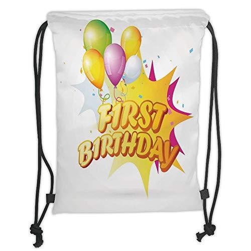 Fevthmii Rucksäcke mit Kordelzug, zum 1. Geburtstag, Dekoration, Kleinkindfeier mit Zitat und Luftballons, Gelb und Hot Pink, weicher Satin, 5 Liter Fassungsvermögen, verstellbarer Schnurverschluss