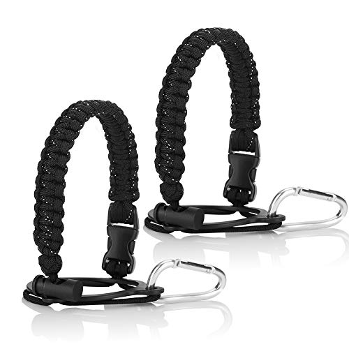 2PCS Water Bottle Handle for Hydro Flask and Other Wide Mouth Bottles, Paracord Strap Carrier for 12oz to 64oz Bottles, Bottle Accessories for Hiking - Assembled with Safety Ring and Carabiner (Black)