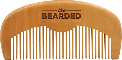 Live Bearded: Premium All-Natural Wooden Beard Comb - Anti-Static - Reduce Snagging, Beard Hair Damage and Ingrown Hairs - Keep Your Mustache Off Your Lip - Fits in Your Pocket - Easy Daily Grooming