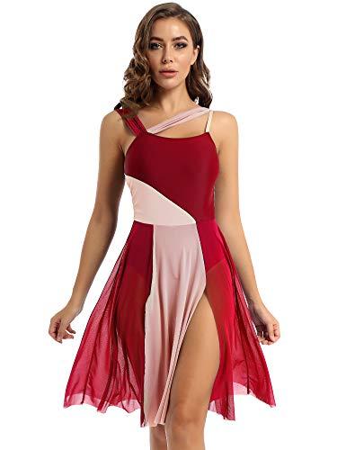 LiiYii Robe Femme Robe de Danse Classique Latin Tango Jazz Justaucorps Gymnastique Tutu Robe Asymétrique Ouvert Haut Halter Bretelles Robe Soirée Cocktail XS-XL Rouge M