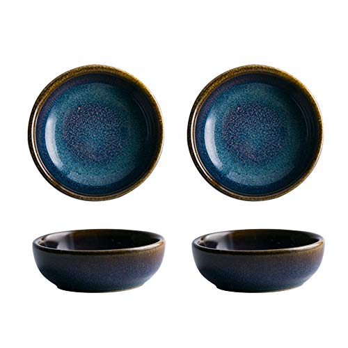 Colias Wing 2.5 Inch Vintage Blue with Brown Edge Stylish Design Multipurpose Porcelain Side Dish Bowl Seasoning Dishes Soy Dipping Sauce Dishes-Set of 4-Blue