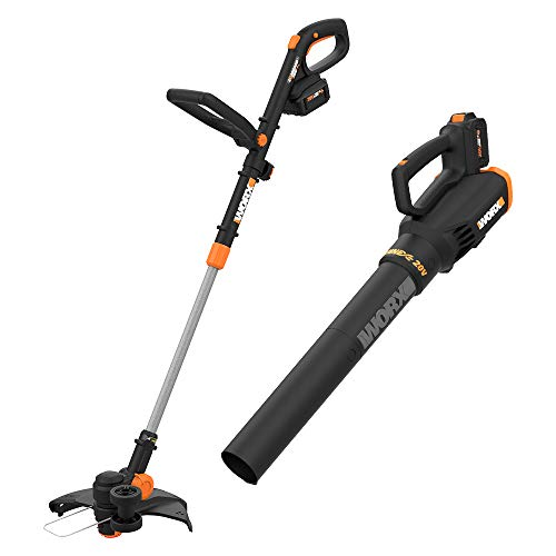 Best Deals! Worx WG930.3 20V PowerShare 10 Cordless String Trimmer & Turbine Blower Combo Kit, (2) ...