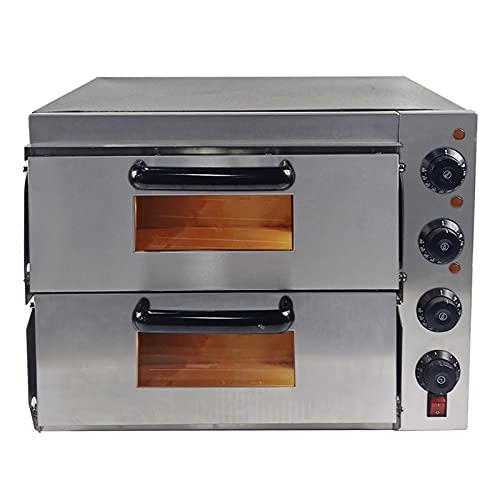 T-CAT Four à pizza électrique en acier inoxydable - 2 chambres - 3000 W - Avec fond en argile réfractaire