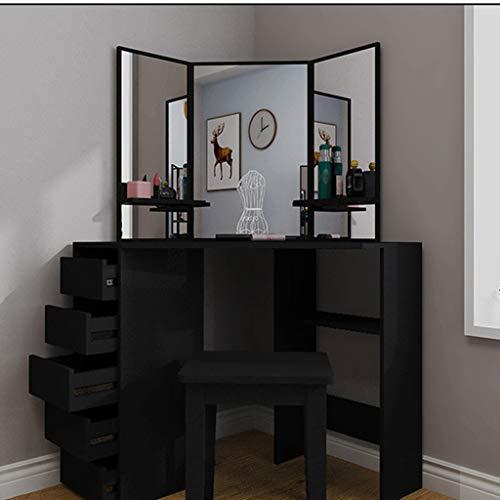 Selomore Makeup Vanity Dressing Table Dresser Desk with Large Drawer for Bedroom, Modern Bedroom Storage Cabinet Vanity Set Without Stool Black Bedroom Furniture(Us Fast Shipment) D